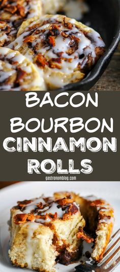 Bacon Bourbon Cinnamon Rolls, brunch, breakfast, dessert #bacon #bourbon #desserts #breakfast #brunch