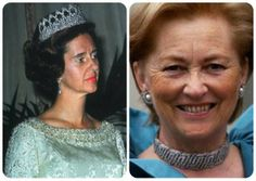 (left) Fabiola wears the arched version of the Nine Provinces tiara sans diamonds and (right) Paola wears it as choker