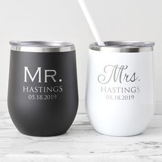 Shop & personalize now: The newlyweds will celebrate in style with their own engraved wine tumblers. With stainless steel construction and laser engraving, she'll never have to worry about her drink getting warm or her name rubbing off. Vaso Yeti, Wine Country Gift Baskets, Wine Carrier, Wine Tumblers, Personalized Wedding Gifts, Personalized Tumblers, Wine Gifts, Bridal Gifts, Wine Making