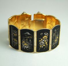 Vintage Bracelet Shakudo Damascene Amita Japan by zephyrvintage, $75.00