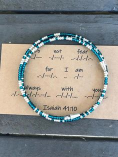 Excited to share this item from my shop: Isaiah Morse code Bible verse bracelet do not fear for I am always with you free US shipping 10 Tattoo, Verse Tattoos, Tatoos, Diy Jewelry, Jewelry Making, Jewelry Ideas, Morse Code Words, Morse Code Tattoo, Bracelet Quotes