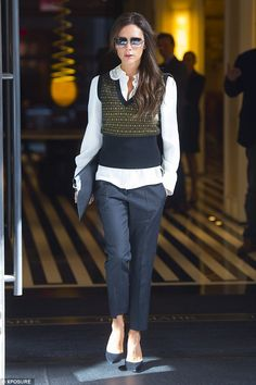 Victoria Beckham (in Casadei shoes, Victoria Beckham clutch) - In New York.  (September 2014)
