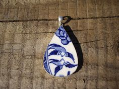 Sterling Silver Repurposed Bluebird Willow Plate Pendant