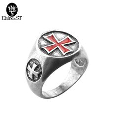 Assassins Creed Ring Templar Ring the Red Cross Enamel Stainless Steel Assassins Creed Cosplay Gamer Jewelry Band Women Men Ring #Affiliate