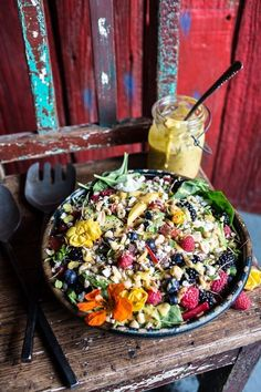 Very Berry Dream Salad with Chili Mango and Peanut Vinaigrette.