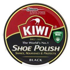 KIWI Wax Shoe Polish Glossy Shines, Nourishes & Protects Brush Black 45 ml. New #Kiwi