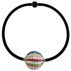 """VENEZIA art to wear modern chic statement necklace: handmade blown pink rainbow """"battuto"""" cut modern murano glass on luxurious murano tubino."""