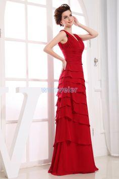 Chiffon Sheath V-neck Red Floor Length Evening Dress With Shirring(ZJ5274)