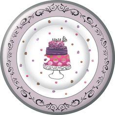 IHR Fancy Cake Birthday Celebration Paper Print Paper Dinner Plates Wholesale PG586700