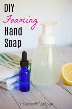 Make your own fancy foaming hand soap for less! This easy DIY recipe takes just 60 seconds to make but will save you money! The natural, nontoxic ingredients don't use chemicals. Eco Friendly Cleaning Products, Natural Cleaning Products, Natural Products, Natural Disinfectant, Green Living Tips, Natural Parenting, Natural Cleaners, Green Cleaning, Soap Recipes