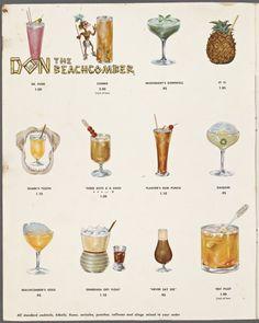 Don the Beachcomber drink menu 1965