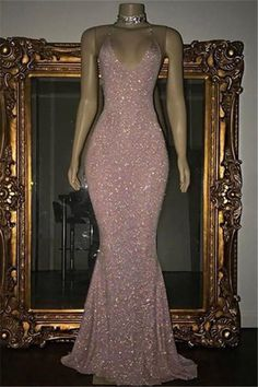 Rose Pink Sequined Evening Gown Long Spaghetti Strap Mermaid Sleeveless Prom Dress#prom #fashion #mermaid #dress #dressbarn #promdress #okdressesy #style #love #elegant #promgown #promdresses #style #events #evening #eveningwear #party #partyideas #rhinestones #gowns #bridesmaid #lace #lacedress