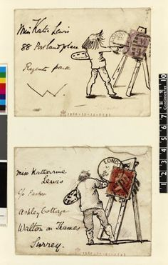 Envelopes by the artist Edward Burne-Jones. (1884). British Museum. Envelope with a sketch of Burne Jones at his easel, from the album 'Letters to Katie'; sketch uses stamp as painting on easel, figure seen from back, address to left. Dark brown pen and ink, on envelope