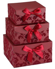 Red Swirl Nesting Elegant set of 3 Gift Boxes, Birthday / Valentine's Day gift NESTED BOXES - Sturdy stacking boxes with lids for craft projects or gift giving. GREAT HOSTESS OR CORPORATE GIFTS - Ready for gift giving. Fill with homemade or prepackaged treats to add a special touch to any occasion. BEAUTIFUL FELTED DAMASK STYLE - No wrapping needed! Ditch the standard gift bag and wrapping paper. Simply insert gift, close the lid. The unique damask print is felted to add dimension an...