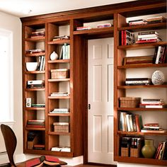Determined to build a variation of this...do shelving floor to ceiling left side of room and carry one shelf casing across wall (like upside down 'L').  It might take 5 years to actually learn how to do it, but don't want to forget it!