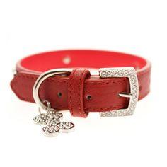 Red Leather Diamante Dog Collar & Diamante Bone Charm