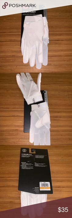 873e08cc8 Description  New Men s Under Armour UA Spotlight NFL White Gluegrip Football  Gloves Small S.