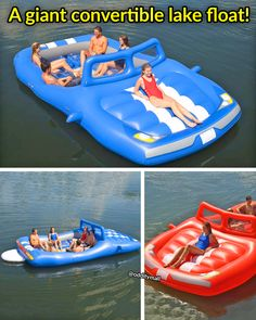 This Giant Convertible Car Lake Float Is The Ultimate Spot For Relaxing On The Water. It fits up to 6 people (probably more in reality), has 6 cupholders, along with a platform on the back to easily get in and out!