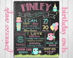 First Birthday Chalkboard Poster Sign - Owls - Printable - Digital File JPG - Baby's First Birthday