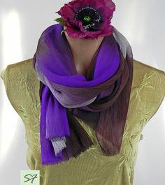 Silk Scarf, Purple Gray Burgundy silk scarf, Hand dyed, chiffon, Ruffled, Shibori, long scarf, wearable art, luxury, boho, Gift for Her by SilkFantazi on Etsy