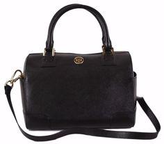 NEW Tory Burch Black Saffiano Leather Robinson Middy Crossbody Satchel Handbag #ToryBurch #MessengerCrossBody