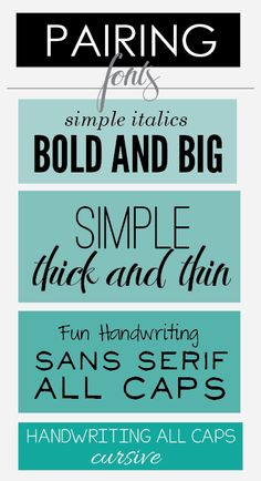 Examples of free fonts that have been paired for greater visual impact