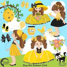 Good morning IG friends... here is my latest pack! I wanted to create little girls that go with my honey bee papers but I wanted something really feminine. Let me know what you think? Have an awesome and inspiring day! Anne-Marie #ambillustrations #honeybeegirls #honeybeeclipart #femininegirlsclipart #cricut #silhouette #cardmaking #craftsy #partyplanners #stickers #summerfun