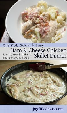 Ham & Cheddar Chicken Skillet Dinner - Ready in 30 minutes, flavorful, and easy! Perfect for busy nights & hungry kids. Low carb, gluten∕grain free, THM S.
