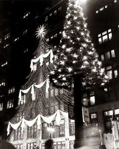 1960, J. L. Hudson's, downtown Detroit.  Nine story tree of lights-125 feet tall, with 72,000 starburst lights.