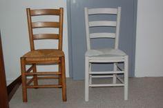Chaise relookée En bois vernis relookée sans poncer avec la satinelle gris clair et la sous-couche Eléopro avant bien-sûr ...