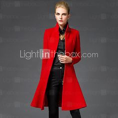 Women's Going out Sophisticated Coat,Solid Stand Long Sleeve Winter Red / Black Wool Medium 2016 - $26.99