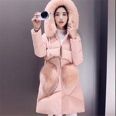Women Winter Jacket Women FashionWwarm Cotton Down jacket Loose Large size Medium-length Coat Hooded Fur collar Outerwear G2863