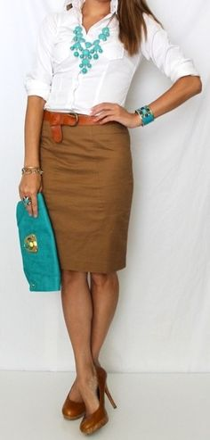 ♥♥♥warm coffee colored skirt - so chic and pro with the turquoise!