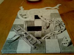 unfinished sketch of snakes and ladders anamorphic snakes and ladders unfinished 3d Street Art, A Level Art, Aesthetic Wallpapers, Board Games, Sketches, Ladders, Snakes, Theatre, Sidewalk