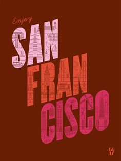 """I really enjoyed the creativity that was put into this poster by inserting graphics of world-famous landmarks throughout the city in the """"San Francisco"""" letters. The angled letters are reminiscent of townhouses (think back to the townhouses from the TV sitcom """"Full House""""). An excellent neutral burnt red background color was used for this ad that really complements the colors used in the words """"San Francisco"""". It was brilliant how they used pointed landmarks for the letters """"a"""" and """"o""""."""