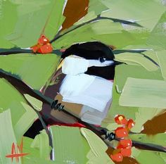 "Daily Paintworks - ""Chickadee no. 607 Painting"" - Original Fine Art for Sale - © Angela Moulton"