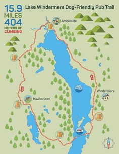 Dog-Friendly Pub Trail to explore around Lake Windermere. Where to find the best dog-friendly pubs. Walking Map, Walking Routes, Dog Walking, Hill Walking, England And Scotland, Skye Scotland, Highlands Scotland, Lake District Walks, Peak District