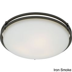 This sleek ceiling mount adds a contemporary accent to your home. The simple, double ring pan frames the opal etched glass, which diffuses the light evenly. It brings a chic, designer touch to rooms w