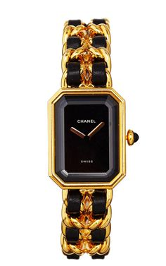 Vintage Chanel Gold & Black Premiere Watch From What Goes Around Comes Around by Vintage Chanel from What Goes Around Comes Around - Moda Op...