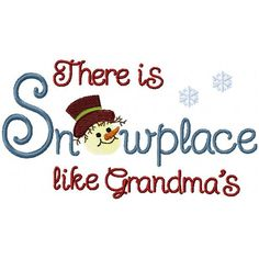 This design is for 5x7 hoops primarily and comes with 15 commonly used names for Grandma. Wouldn't this look great on a child's t-shirt or how about making a pretty pillow or quilt with the design at the center. Also comes with the snowman head separate for 4x4 hoops.