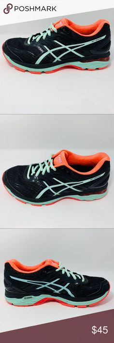 ASICS WOMENS 5 running shoes Size 8 Size 8 Color  Black Light Blue Orange  Excellent used condition fba910038b86d