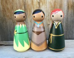 Princess SET OF 4 Peg People Your choice of FOUR by PegBuddies