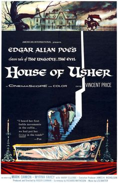 Screen printing: Classic movie posters from yesteryear. House of Usher, 1960. Starring: Vincent Price