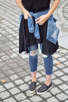 distressed layered denim and a swing dress for early fall style inspiration from fashion blogger Leslie Musser, one brass fox
