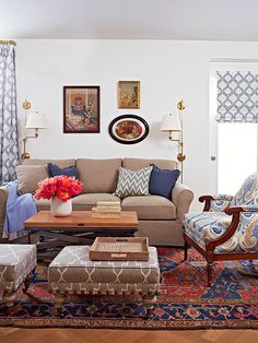 living room, mixing patterns with a persian rug