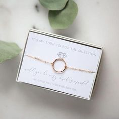 BRIDESMAID GIFTS gold circle bracelet, bridesmaid proposal idea, bridesmaid gifts, bridesmaid jewelry Board: general wedding and proposal things Sourc. Bridesmaid Boxes, Bridesmaid Proposal Gifts, Wedding Bridesmaids, Brides Maid Proposal, Bridesmaid Jewelry Gift, Bridesmaid Gifts Will You Be My, Bridesmaid Gifts Unique, Wedding Gifts, Our Wedding