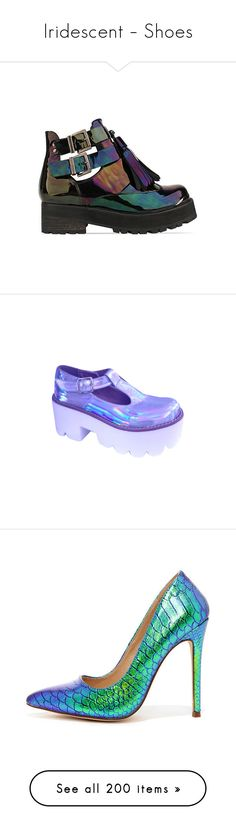 """Iridescent – Shoes"" by glitterals ❤ liked on Polyvore featuring shoes, boots, ankle booties, zapatos, обувь, black petrol patent, black ankle booties, black platform boots, mid heel ankle booties and black boots"