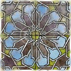 Printable Art, Instant Download, DIY Print At Home, Art Print, Watercolor, Old Geometric Mosaic Tile Blue Yellow by edeblas on Etsy