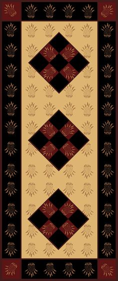 Bordered Pineapple Floorcloth 30 X 72 by Lisa Curry Mair of Canvasworks Designs. Painted Floor Cloths, Painted Rug, Painted Floors, Painted Canvas, Stencil Decor, Stencil Designs, Stencil Patterns, Painting Patterns, Primitive Dining Rooms