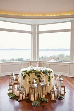 photo: Kristin Spencer Photography; bride and groom table at wedding reception;